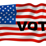 american flag and vote